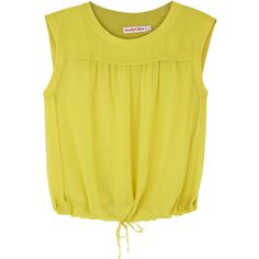 See by Chloé Yellow sheer chiffon top (750 BRL) ❤ liked on Polyvore featuring tops, shirts, blouses, blusas, crop top, yellow, crop shirt, yellow crop top, yellow shirt and yellow top