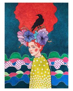 Hulya Ozdemir – Art and Her Illustrations, Illustration Art, Altered Book Art, Creative Portraits, Portrait Art, Indian Art, Watercolor Art, Fantasy Art, Art Projects