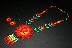Genuine Huichol Necklace Jewelry Set by BiuluArtisanBoutique