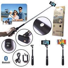 UFCIT Universal Wireless Extendable Self-portrait Bluetooth Monopod Handheld Selfie Stick Monopod for iPhone Samsung and other IOS and Android Smartphone (Black): Cell Phones & Accessories