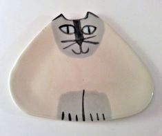 ceramic Siamese kitty cat pottery plate triangle shape by firecat, $28.00