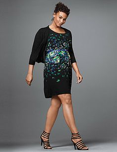 A sultry sheath dress is a wardrobe must-have, and we've given this one a breath of fresh air for the season with a mottled print and color pop skinny belt. Sleeveless with wide straps and a flattering scoop neckline. Silky woven construction is fully lined.  lanebryant.com