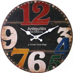 Colourful Modern Large Numbers Wooden Kitchen Wall Clock