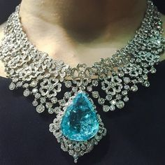 Stunning Paraiba Tourmaline and diamond necklace photographed last year at Jewellery Arabia in Bahrain