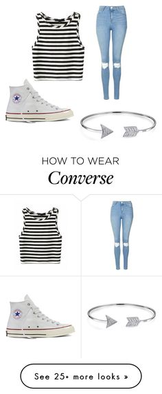 """Untitled #126"" by lindsey52733 on Polyvore featuring Topshop, Converse, Bling Jewelry and stripedshirt"