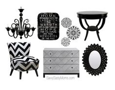 Black & White for the home Home And Living, Living Rooms, Living Room Decor, Interior Decorating, Decorating Ideas, Decor Ideas, Nail Salon Decor, Nail Room, Salon Ideas
