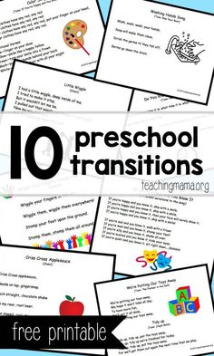 10 Preschool Transitions– Songs and Chants to Help Your Day Run Smoothly – free printable posters! Great for preschool classrooms. - Kids education and learning acts Preschool Music, Preschool Curriculum, Preschool Lessons, Preschool Classroom, Preschool Learning, Teaching, Classroom Ideas, Preschool Ideas, Preschool Movement Songs