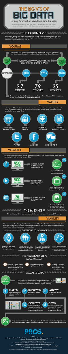 A Fun Infographic on the Big V's of Big Data from Cloud Tweaks: http://www.cloudtweaks.com/2013/07/cloud-infographic-big-data-sales/