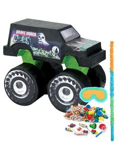 Monster Jam Pinata Kit includes: Monster Jam Pinata Candy and Toy Pinata Fillers Pinata Blindfold and Pinata Buster. This product is officially licensed by Monster Jam. Monster Jam Party Supplies, Monster Truck Birthday, Monster Trucks, Boy Birthday Parties, 4th Birthday, Birthday Ideas, Digger Birthday, Birthday Cake, Pinata Fillers
