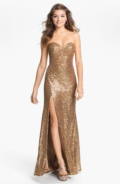 Sequins with a sweetheart neckline, ruched waist and high side slit for drama at every angle. #Nordstrom #dress