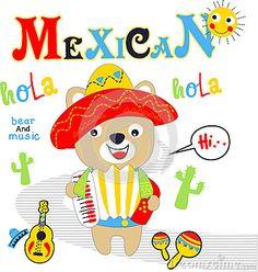 Bear mexican playing music vector clip art cartoon