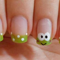 Cute little frog nail art. Pink Nail Art, Cute Nail Art, Cute Nails, Pretty Nails, Red Nail, Pastel Nails, Fancy Nails, Diy Nails, Manicure