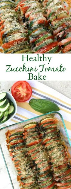 This Zucchini Tomato Bake is an easy way to use up all your delicious summer vegetables. Fresh, healthy and full of flavor- it's the perfect side dish!