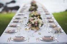Vintage Gold Rim Glassware + Gold Rim Dinnerware by Set Maui wedding tablescape inspiration. Planner…