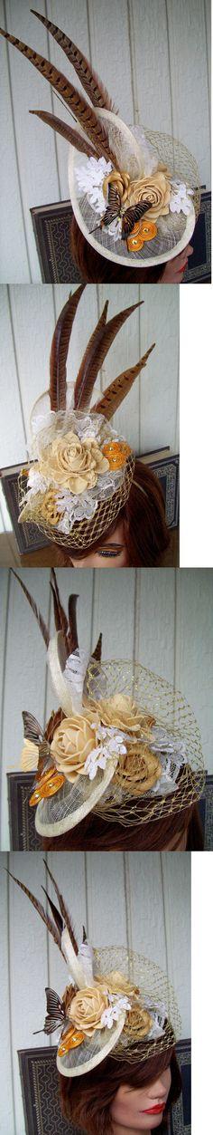 Women Formal Hats: Fascinator (710) Cream-Gold-White, Derby Mini Hat, Wedding, Church Hat -> BUY IT NOW ONLY: $40 on eBay!