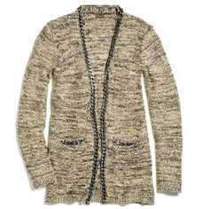 "Our marled cardigan is made that much cooler with shots of shimmer (courtesy of silver sequins) and chain trim. Consider it your superior wardrobe choice all season long! Polyester/acrylic.  Imported.<br><br><i>""A sweater is always a great gift. The chain detail makes this cardigan feel really special."" - Lucy Hale, mark. Brand Ambassador</i>  ~ order at www.youravon.com/atodd"