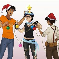 Setting up the tree  (you know they got beat up after this) drawn by indigonite on instagram and tumblr