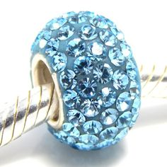 Pro Jewelry 925 Sterling Silver Birthstone March Aquamarine Light Blue Bead Charm for Snake Crystal Spacer Bead - CHECK IT OUT @ http://www.finejewelry4u.com/jew/102890/150720