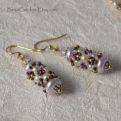 VENTE tissée en perles Boucles d'oreilles en rose