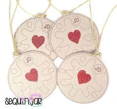 4 handmade cute jammy dodger glitter present decorating kraft card gift tags uk