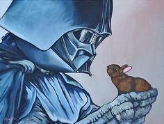Star Wars characters holding bunnies by Kelly Kerrigan