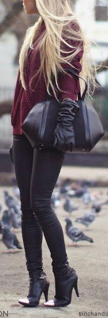 burgundy and black