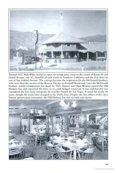 Old Hickory Inn, Glendora CA, they influenced McDonalds for drivethrus