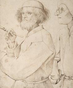 Pieter Bruegel d. Ä. wollte seine Zeitgenossen einfangen. Er zeichnete Bauern bei der Feldarbeit, pittoreske Landschaften und Alpengipfel, Flusstäler und auf die Gesellschaft bezogene Moralsatiren. An die Stelle der Darstellung des Individuums tritt die Illustration bestimmter Typen. Hier sehen wir «Maler und Käufer», um 1565, Feder in Braun. (Bild: Albertina, Wien)