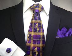 Match One, Tie Set, Mythical Creatures, Silk Ties, Woven Fabric, Unicorn, Burgundy, Purple, Awesome