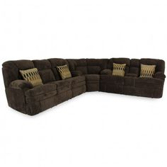HOME STRETCH DESIGNS DANE CHOCOLATE SECTIONAL - SOFA, SECTIONAL, LIVING ROOM | Gallery Furniture - Houston, TX Fabric Sectional, Living Room Sectional, Sectional Sofa, Oversized Furniture, Large Furniture, Quality Furniture, Reclining Sectional, Recliner, Media Furniture