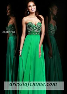 Elegant floor length jeweled top sparkly embellished long prom dresses with strapless sweetheart neckline.