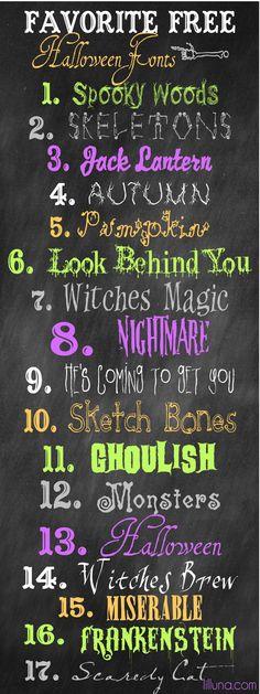 Free Halloween Fonts at lilluna.com