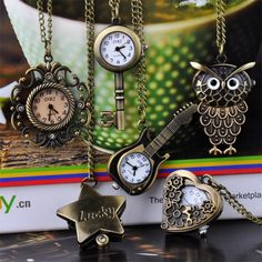 Bronze Steampunk Quartz Pingente Cadeia Relógio Relógio de bolso
