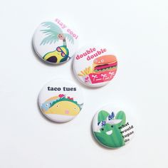 Set of 4 Cali inspired pinback buttons, mix and match for all your flair moods!     Taco Tuesday   Tupac Cactus   Stay Cool Palm Tree   Double Double Burger  1 inch in diameter   If a different quantity of a design is preferred:  Please order and send message detailing the number of each design.