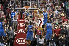 Nicolas Batum has his shot blocked by Russell Westbrook in the closing seconds of regulation.