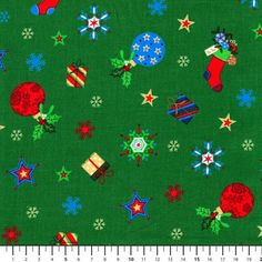 Material textil bumbac - Noel gifts green