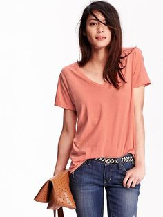Women's Relaxed V-Neck Tees Product Image
