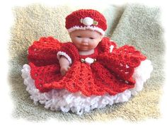 (4) Name: 'Crocheting : Bed Doll Dress for 5 Inch Baby Doll