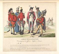 1815:Bodleian Libraries, Lord Wellington encourageant les officiers Anglais à l'armée.French political cartoon.