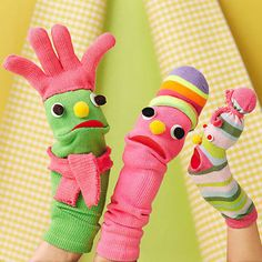 Give single socks new life by crafting them into a wacky family. Stuff each with batting; then glue on facial features and accessories.