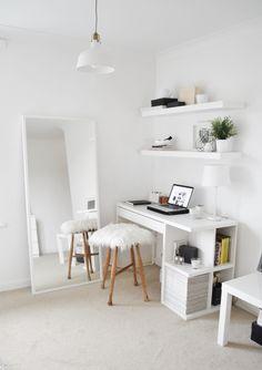 Minimal bedroom interior styling. White ikea furniture, floating shelves