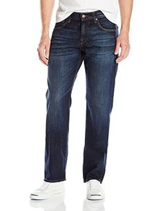 7 For All Mankind Men's Austyn Relaxed Straight Leg Jean in Hamilton Vintage Relaxed straight leg jean in a dark and rich vintage wash that is crafted on an 11 Oz stretch denim. This jean receives a resin rinse, 3D whiskers, chevrons and some tacking. A global handsand is applied, followed by a global potassium spray to help emulate natural wear patterns throughout. After a subtle tint is brushed on, pieces are complete with antique copper hardware and iconic burgundy labels