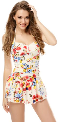 686a23ea35d62 One Piece Floral Ruched Halter Push Up Slim Tummy Control Tankini Swim  Dress at Amazon Women s