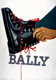 vintage Bally Ski Boot ad. When I was a little girl, I would watch my parents get ready to go skiing. Their ski boots looked like this. By the time I started skiing, there were buckles on the boots, though they looked nothing like the buckles on boots today...