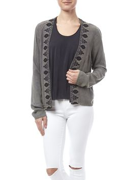 Washed out olive green cardigan with an open front and embroidered lapels.   Embroidered Cardigan by Anama. Clothing - Sweaters - Cardigans Chicago, Illinois