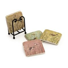 $22.99-$46.78 IMAX Pastel Color Stone Bird Coasters Set Of Four In Black Metal Caddy, - Naomie Coasters - Set of 4. http://www.amazon.com/dp/B005EVPD2A/?tag=pin2wine-20
