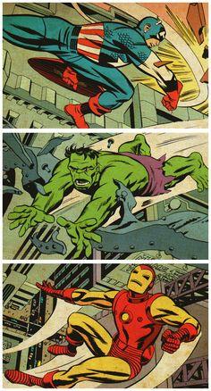 Captain America, The Hulk and Iron Man