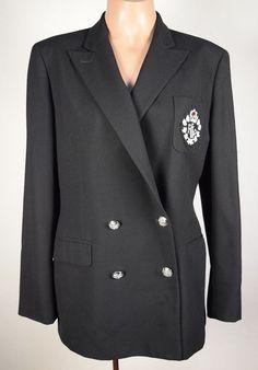 RALPH LAUREN 100% Worsted Wool Black Double Breasted Crested Blazer Women's 10  #RalphLauren #Blazer