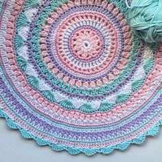 Crochet Diy Crochet Mandala Rug Free Pattern by Suzzanne Smith Wilson - You will love our post that includes a lovely DIY Crochet Mandala Rug. You will find lots of artistic crochet mandala rugs and free patterns too. Motif Mandala Crochet, Mandala Rug, Crochet Motifs, Crochet Squares, Crochet Doilies, Crochet Patterns, Rug Patterns, Granny Squares, Blanket Patterns