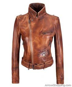Arrow Women Band Collar Biker Jacket front – ytrr6r65r1